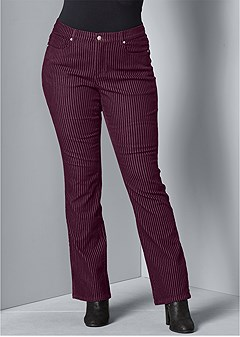 plus size velvet stripe pants