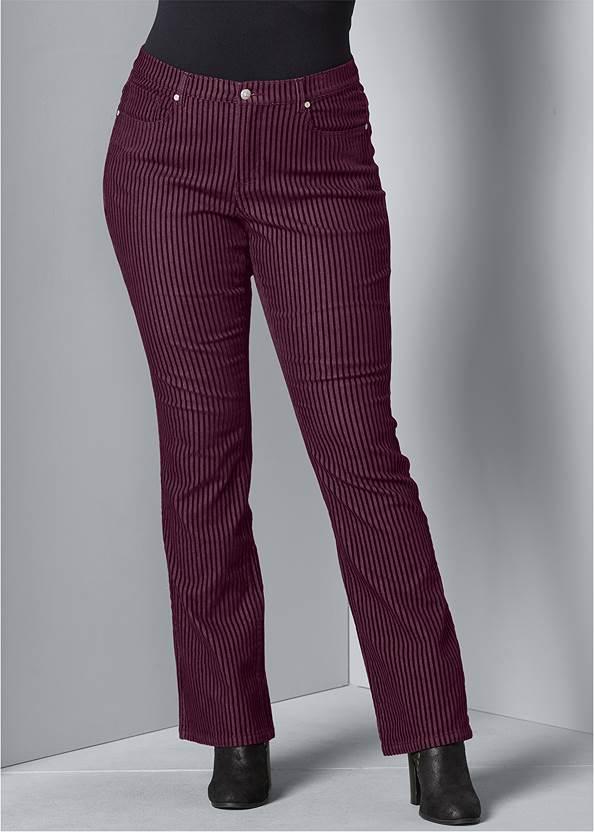 Velvet Stripe Pants,Surplice Side Tie Top