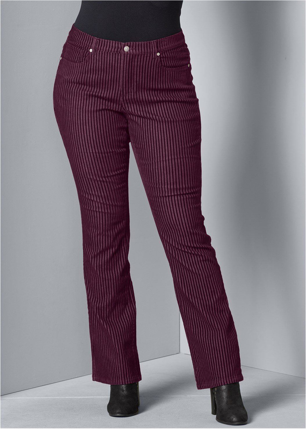 Velvet Stripe Pants,Surplice Side Tie Top