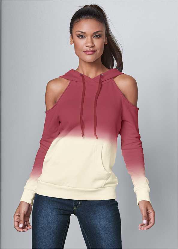 Cold Shoulder Sweatshirt,Mid Rise Color Skinny Jeans