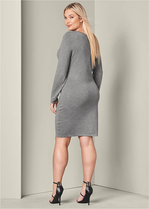 Back View Embellished Sweater Dress