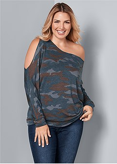 plus size one shoulder lounge top