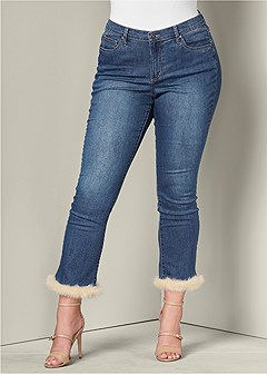 plus size faux fur cuff jeans