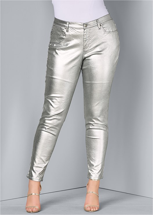 5d470f9e82 Plus Size METALLIC JEANS in Silver