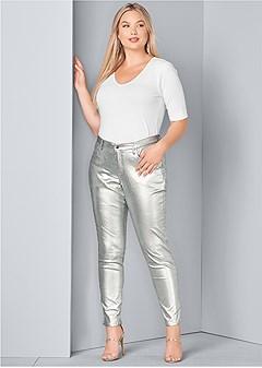 plus size metallic jeans