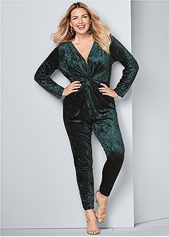 plus size knot detail velvet jumpsuit