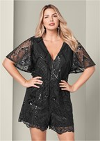 plus size sequin detail romper
