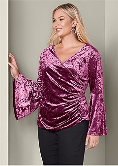 plus size surplice velvet top