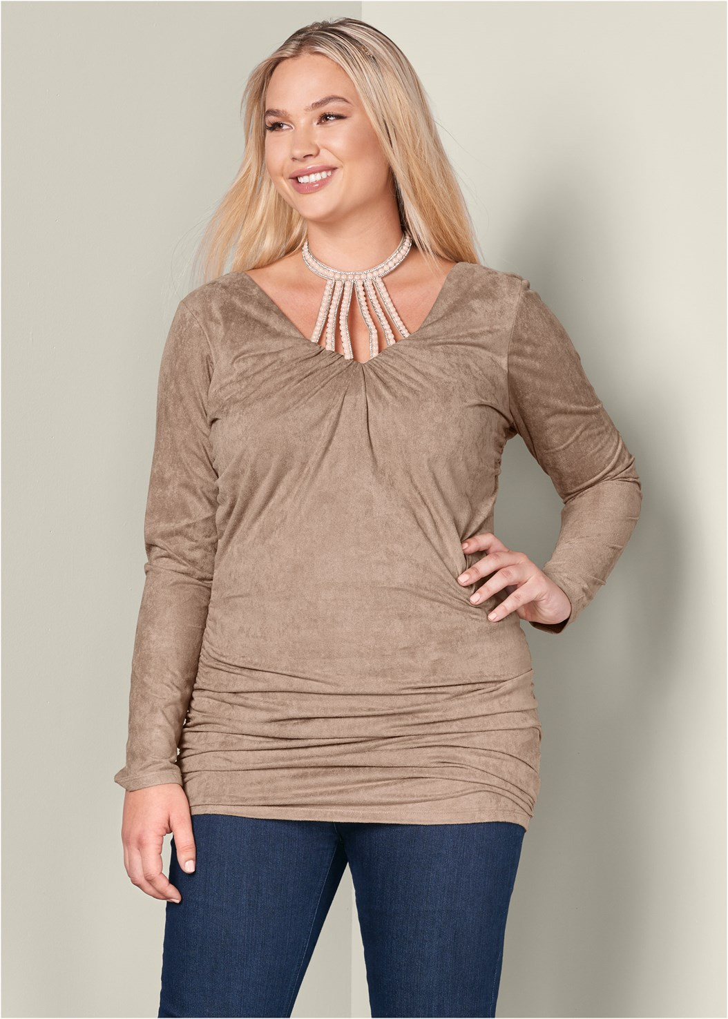 Faux Suede Tunic,Mid Rise Slimming Stretch Jeggings