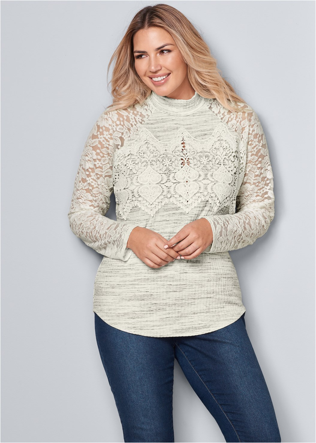 Lace Detail Mock Neck Top,Mid Rise Color Skinny Jeans,Wrap Stitch Detail Booties