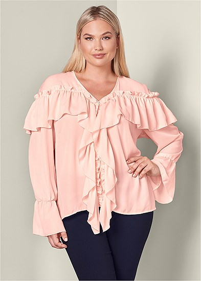 Plus Size Ruffle Detail Top