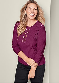 plus size strappy detail sweater