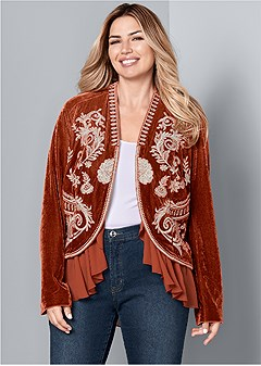 plus size embroidered velvet jacket