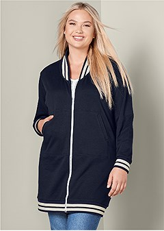 plus size long bomber jacket