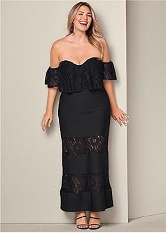 plus size slimming lace detail dress