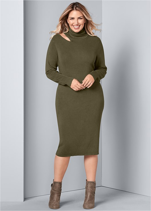 CUT OUT SWEATER DRESS,WRAP STITCH DETAIL BOOTIES