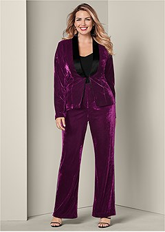 plus size velvet pant suit set