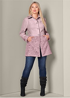 plus size lace detail coat