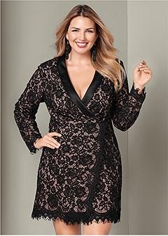 plus size lace coat dress
