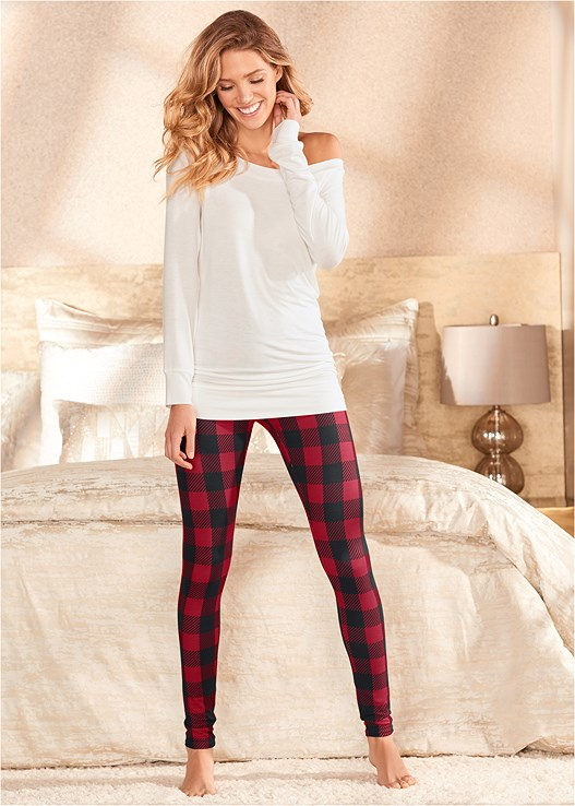 PLUSH SLEEP LEGGINGS,OFF SHOULDER SLEEP TEE