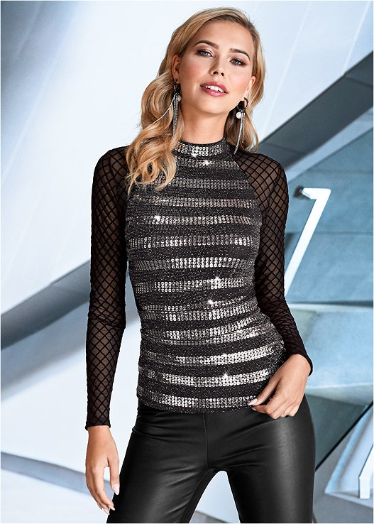 SEQUIN DETAIL MESH TOP,FAUX LEATHER LEGGINGS,BUCKLE DETAIL STRAPPY HEELS,METAL FRINGE CROSSBODY