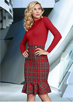 plaid detail sweater dress