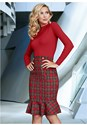 Front View Plaid Detail Sweater Dress