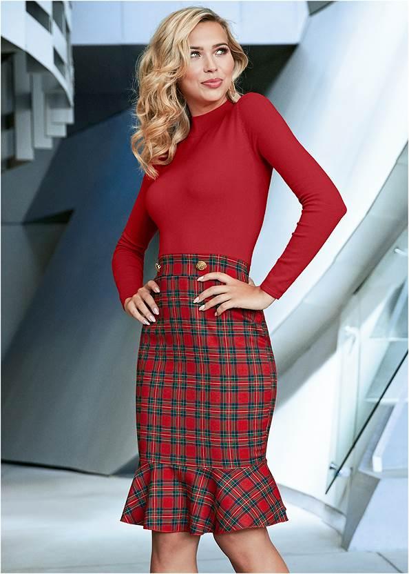 Plaid Detail Sweater Dress,High Heel Strappy Sandals,Stud Detail Crossbody