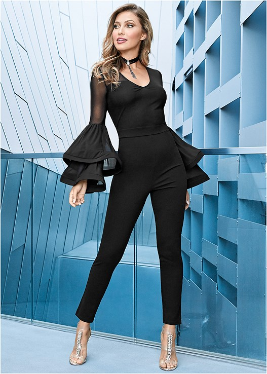 SLEEVE DETAIL JUMPSUIT,SMOOTH LONGLINE PUSH UP BRA,HIGH HEEL STRAPPY SANDALS
