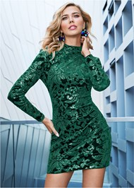 FRONT VIEW Sequin Detail Velvet Dress
