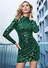 FRONT VIEW Sequin Detail Velvet Dress