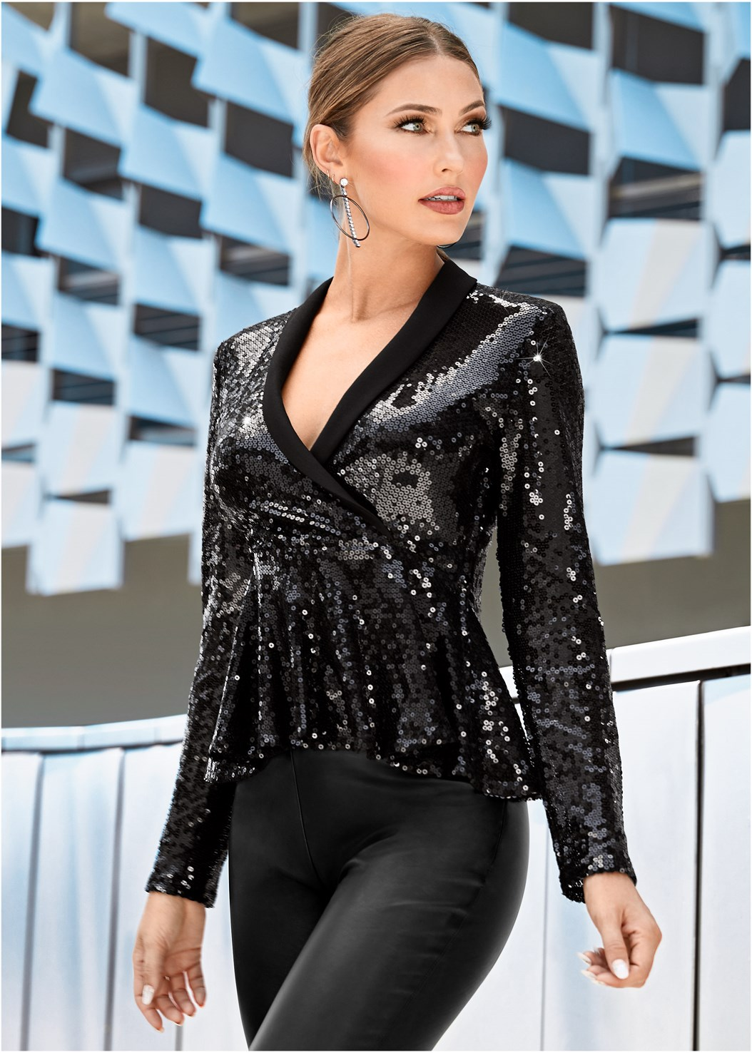 Sequin Peplum Top,Mid Rise Slimming Stretch Jeggings,High Heel Strappy Sandals,Rhinestone Fringe Earrings