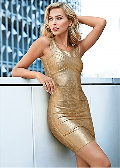 slimming metallic dress