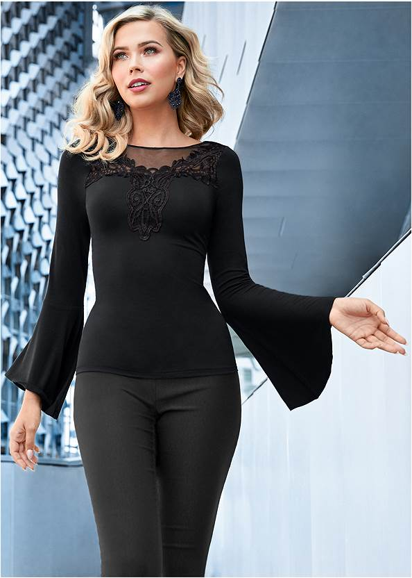 Embroidered Bell Sleeve Top,Mid Rise Color Skinny Jeans,Mid Rise Slimming Stretch Jeggings