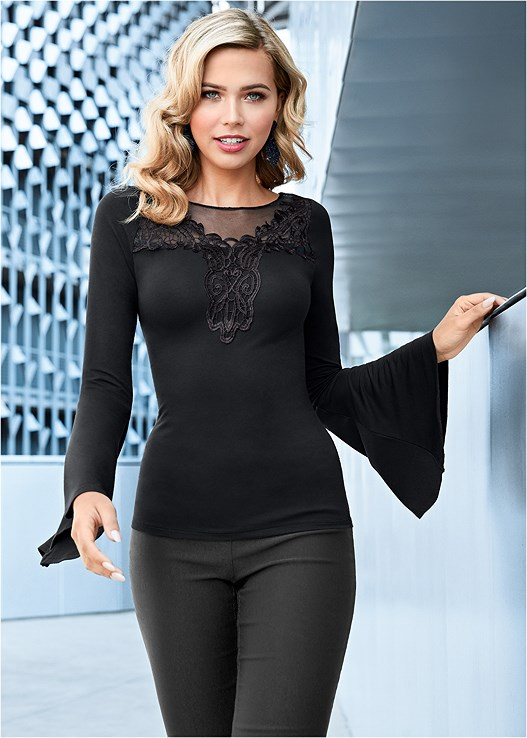 EMBROIDERED BELL SLEEVE TOP,SLIMMING STRETCH JEGGINGS,SEQUIN PEEP TOE BOOTIE,LACE DROP EARRINGS