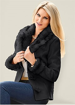 shearling faux trim coat