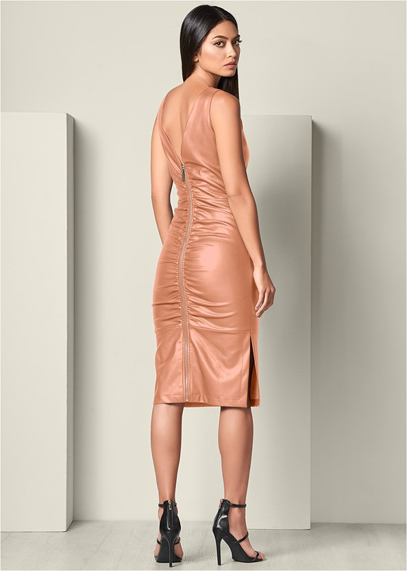 Faux Leather Ruching Dress,High Heel Strappy Sandals