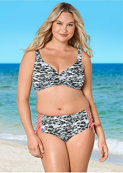 plus size lattice side bikini bottom
