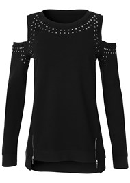 Full Front View Cold Shoulder Sweatshirt