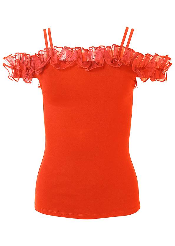 Alternate View Ruffle Cold-Shoulder Top