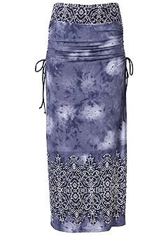 plus size ruching detail maxi skirt