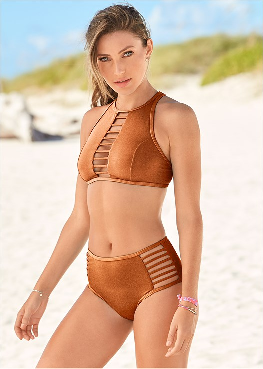 ALLURING HIGH WAIST BOTTOM,ALLURING HIGH NECK TOP,SHARKBITE HEM TANKINI TOP,ENHANCER PUSH UP TRIANGLE,LOVELY LIFT WRAP BIKINI TOP