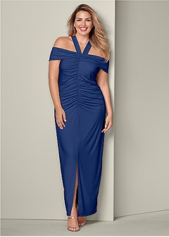 plus size ruched detail long dress
