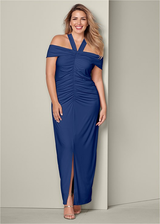RUCHED DETAIL LONG DRESS,HIGH HEEL STRAPPY SANDALS