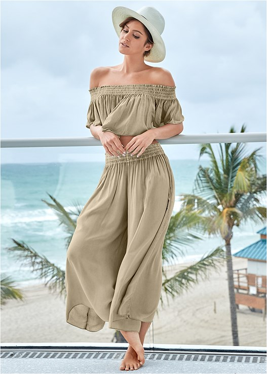 SMOCKED WAIST COVER-UP PANT,OFF THE SHOULDER CROP TOP