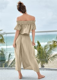 Back View Smocked Waist Cover-Up Pant