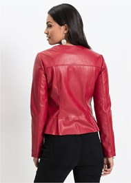 Back View Faux Leather Ruffle Jacket