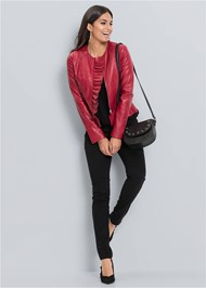 Front View Faux Leather Ruffle Jacket