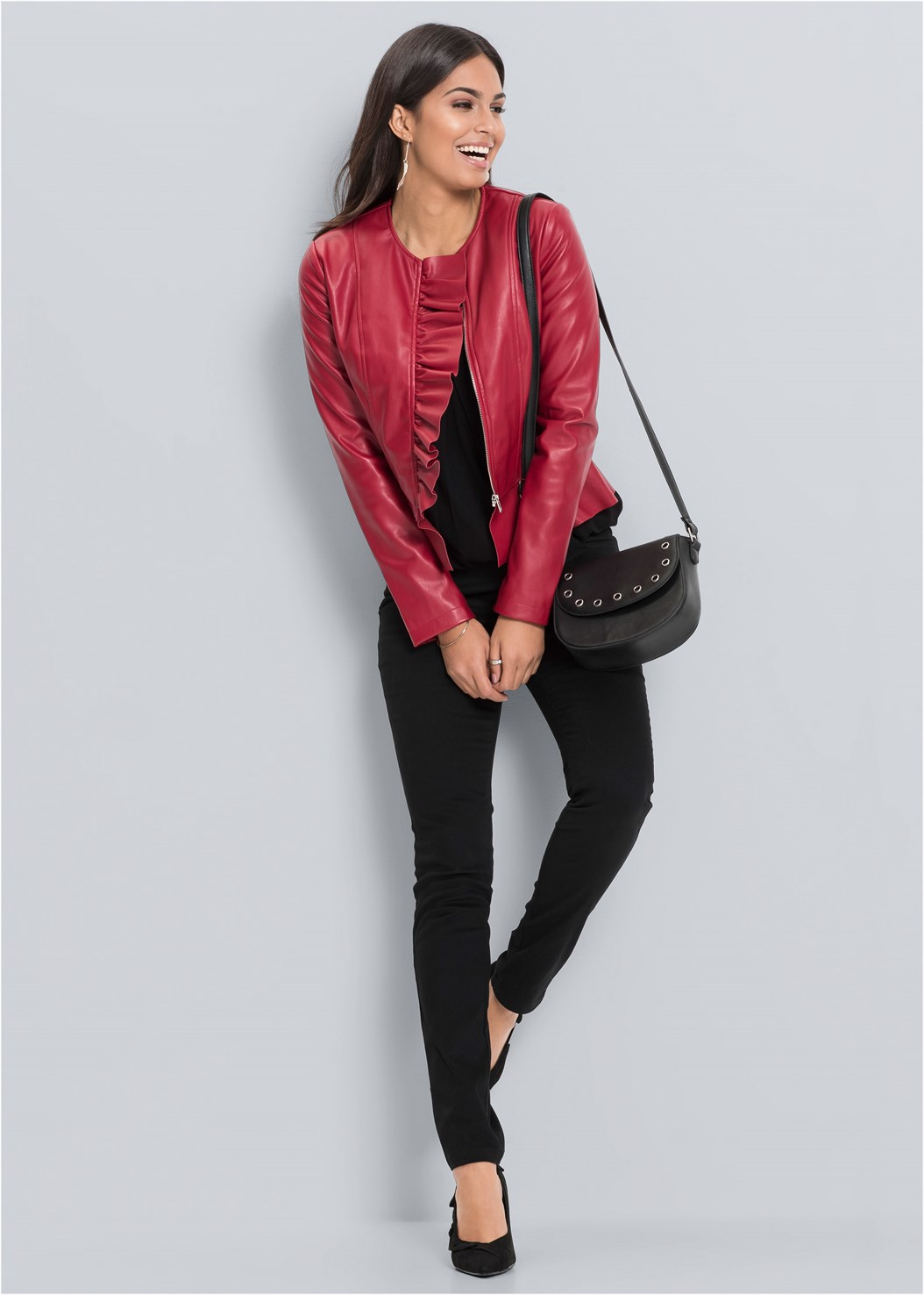Faux Leather Ruffle Jacket,Kissable Strappy Push Up