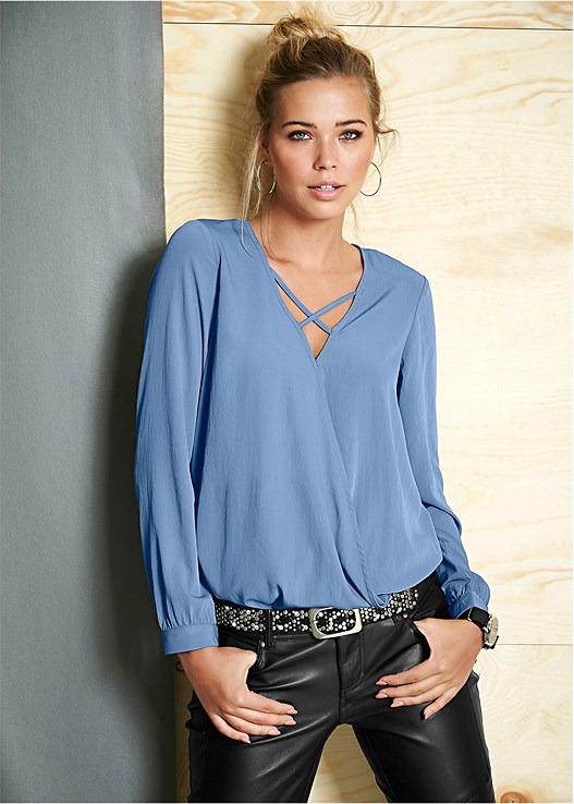 STRAPPY FRONT SURPLICE TOP,COLOR SKINNY JEANS,LACE PUSH UP RACERBACK BRA,BUCKLE DETAIL BOOTS